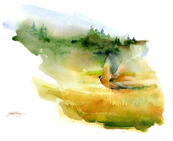 Pheasant in flight, 2015, Canvas Print