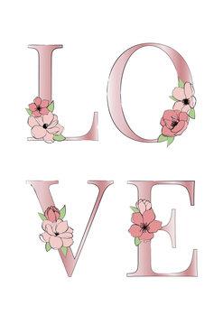 Canvas Print Pink love