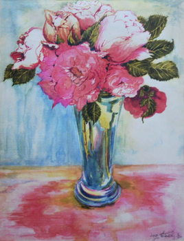 Pink Roses in a Blue Glass, 2000, Canvas Print