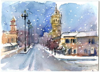 Plaza in winter, 2015, Canvas Print