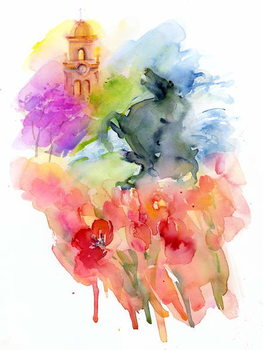 Plaza with Red Tulips, 2016, Canvas Print
