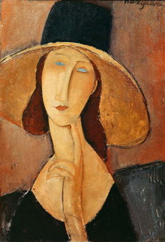 Canvas Print Portrait of Jeanne Hebuterne in a large hat, c.1918-19