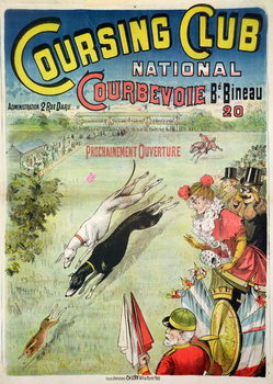 Poster advertising the opening of the Coursing Club at Courbevoie Canvas Print