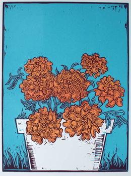 Pot of Marigolds, 2014, Canvas Print