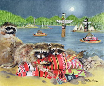 Racoons, 2000 Canvas Print