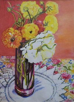 Ranunculus on a Lace Cloth, Canvas Print
