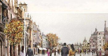 Canvas Print Richard Macneil - Street After Rain
