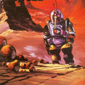 Robots envisaged on the red planet Canvas Print