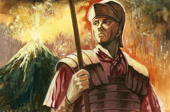 Roman soldier with Vesuvius erupting behind Canvas Print