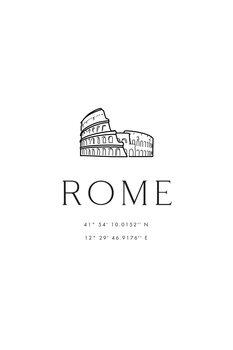 Canvas Print Rome coordinates