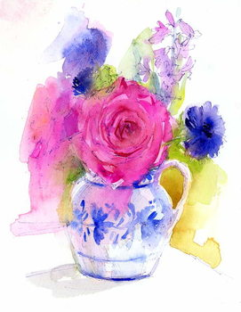 Rose and Cornflowers in Pitcher, 2017 Canvas Print
