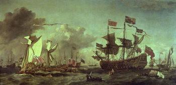 Royal Visit to the Fleet, 5th June 1672 Canvas Print