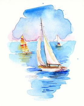 Sailboats, 2017, Canvas Print