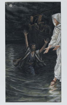 Saint Peter Walks on the Sea, illustration from 'The Life of Our Lord Jesus Christ' Canvas Print