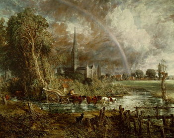 Salisbury Cathedral From the Meadows, 1831 (oil on canvas) Canvas Print
