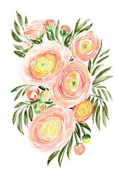 Canvas Print Savanna loose watercolor bouquet