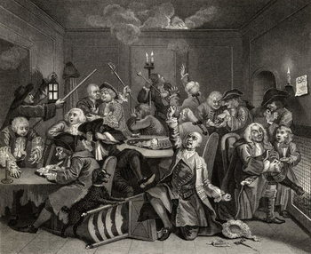 Scene in a Gaming House, plate VI from 'A Rake's Progress', from 'The Works of William Hogarth', published 1833 Canvas Print