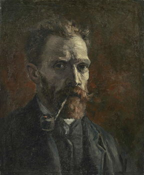 Self-portrait with pipe, 1886 Canvas Print