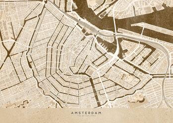 Canvas Print Sepia vintage map of Amsterdam
