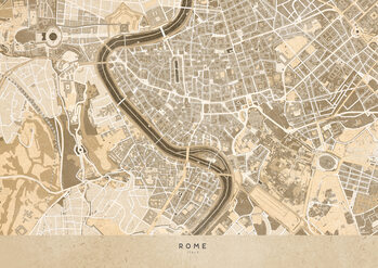 Canvas Print Sepia vintage map of Rome
