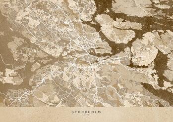 Canvas Print Sepia vintage map of Stockholm