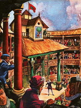 Shakespeare performing at the Globe Theatre Canvas Print
