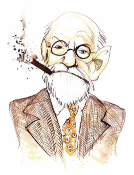 Sigmund Freud Austrian neurologist and psychotherapist of Czech birth ; caricature Canvas Print