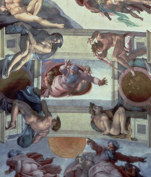 Sistine Chapel Ceiling (1508-12): The Separation of the Waters from the Earth, 1511-12 (fresco) Canvas Print