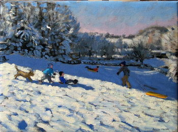 Sledging near Youlgreave, Derbyshire Canvas Print