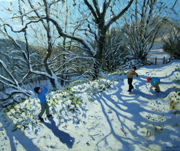 Snowball fight, Derbyshire Canvas Print