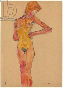 Standing Female Nude (Gerti Schiele); Stehender weiblicher Akt (Gerti Schiele), 1910 Canvas Print