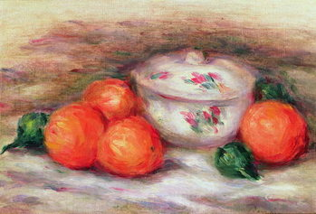 Canvas Print Still life with a covered dish and Oranges