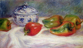 Canvas Print Still life with a sugar bowl and red peppers