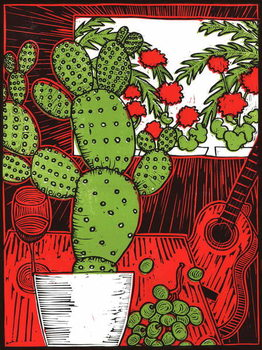 Still life with Cactus, 2014, Canvas Print