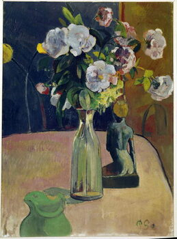 Canvas Print Still life with roses and statue