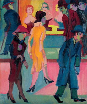 Street Scene by the Barber Shop; Strassenbild vor dem Friseurladen, 1926 Canvas Print