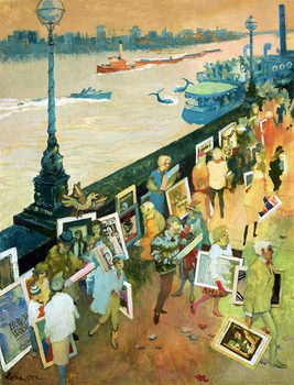 Thames Embankment, front cover of 'Undercover' magazine, published December 1985 Canvas Print