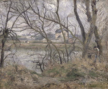 The Banks of the Oise, near Pontoise, Cloudy Weather, 1878 Canvas Print