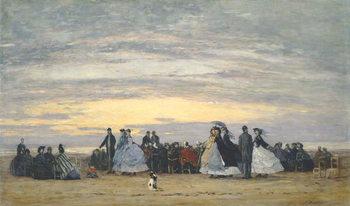 The Beach at Villerville, 1864 Canvas Print