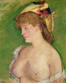 The Blonde with Bare Breasts, 1878 Canvas Print