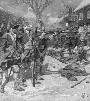 The 'Boston Massacre', engraved by J. Bernstrom, from Harper's Magazine, 1883 Canvas Print