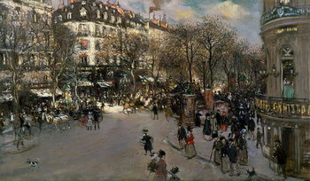 The Boulevard des Italiens, c.1900 Canvas Print