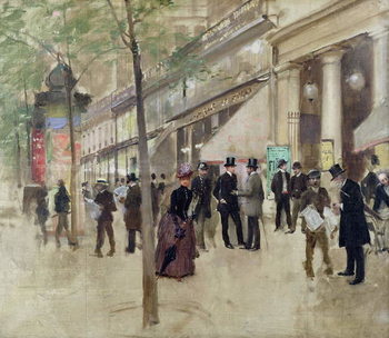 The Boulevard Montmartre and the Theatre des Varietes, c.1886 Canvas Print