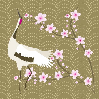 The Cherry Blossom and the Crane Canvas Print