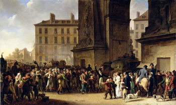 The Conscripts of 1807 Marching Past the Gate of Saint-Denis (oil on canvas) Canvas Print