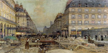The Construction of the Metro, 1900 Canvas Print