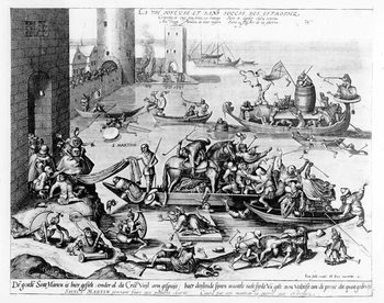 The Happy and Trouble Free Life of the Cripple (engraving) Canvas Print