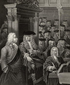 The House of Commons in Sir Robert Walpole's Administration, engraved by R. Page, from 'The Works of William Hogarth', published 1833 (litho) Canvas Print