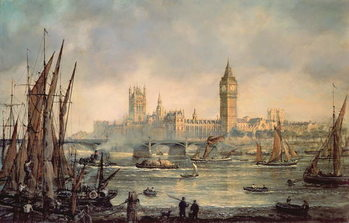 The Houses of Parliament and Westminster Bridge Canvas Print