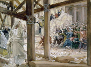 The Jews took up Stones to Cast at Him, illustration for 'The Life of Christ' c.1886-96 Canvas Print